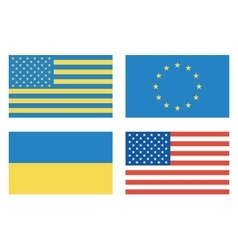 Flags of countries USA Ukraine European Union vector image