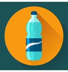 Flat Style Icon with Long Shadow A bottle of vector image