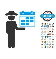 Gentleman schedule icon with 2017 year bonus vector