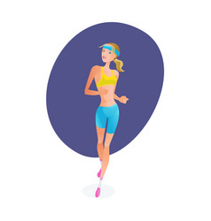Girl engaged in track and field athletics vector
