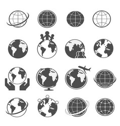 globe earth icons set vector image vector image