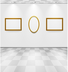 Gray room with frames vector image