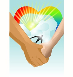 hand in hand vector image vector image