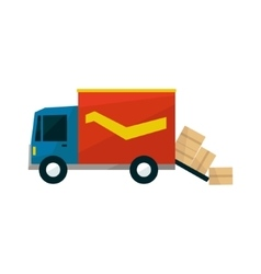 Long Distance Cargo Truck With Boxes Falling Out vector image vector image