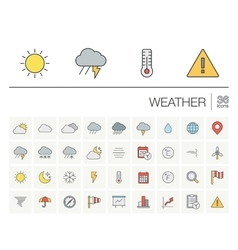 Meteo and weather color icons vector