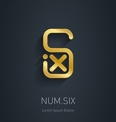 Number 6 golden logo template gold logotype or vector image vector image