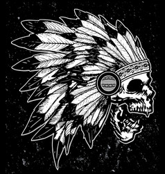 One color indian skull t shirt graphic design vector