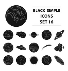 Planets set icons in black style big collection vector