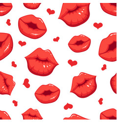 print marks of female red lips seamless vector image