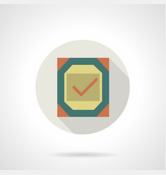 Quality checked flat round icon vector