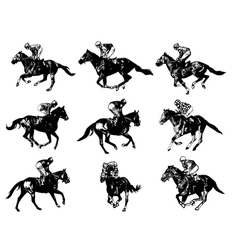 Racing horses and jockeys vector