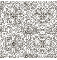 seamless pattern doodle ornament black and white vector image vector image