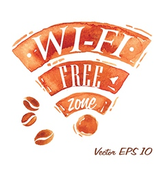 Set Watercolor Coffee Wi-Fi vector image