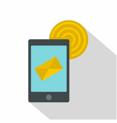 Smart phone sending email icon flat style vector