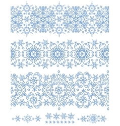 Snowflakes seamless borderWinter pattern vector image vector image