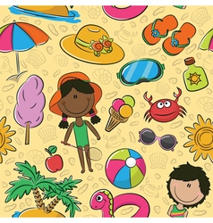 Summer beach pattern vector image