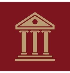 The bank icon building facade symbol flat vector
