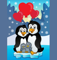 valentine penguins near seashore vector image