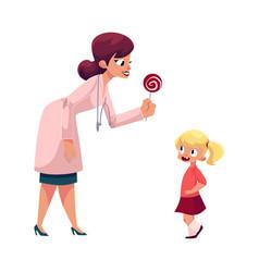 Woman doctor pediatrician giving lollipop to girl vector