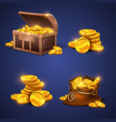 wooden chest and big old bag with gold coins vector image vector image