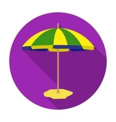 Yelow-green beach umbrella icon in flat style vector