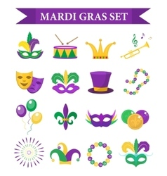 Mardi Gras carnival set icons design element vector image
