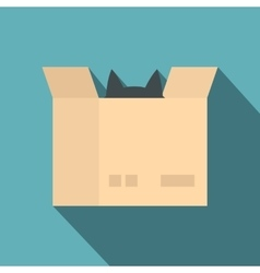 Cat in a cardboard box icon flat style vector