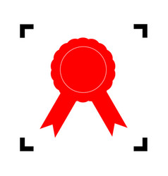 label sign ribbons red icon inside black vector image