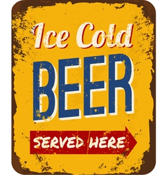 Vintage beer tin sign vector