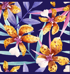 watercolor orchid flowers tropical pattern vector image