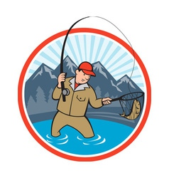 Fly fisherman catching trout fish cartoon vector
