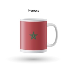Morocco flag souvenir mug on white background vector