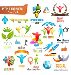 People Social Community 3d icon and Symbol Pack vector image
