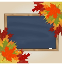 Maple leaves and grey chalkboard vector