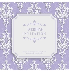 Violet 3d vintage invitation card with vector