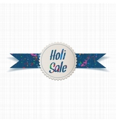 Holi sale and color splashes on label with ribbon vector