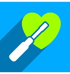 Heart tuning flat square icon with long shadow vector