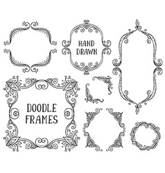 Set of hand drawn doodle frames on white vector