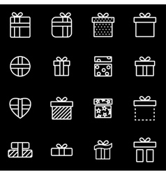 Line gift icon set vector