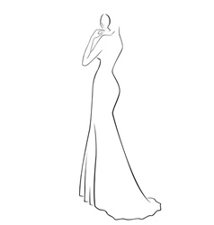 Abstract woman in a long gown vector