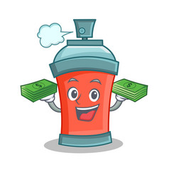 aerosol spray can character cartoon with money vector image