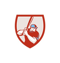 Baseball player batter hitter shield retro vector