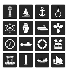 Black Simple Marine Sailing and Sea Icons vector image