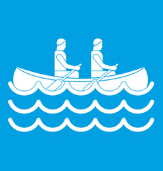 Canoeing icon white vector