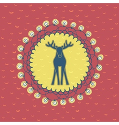 Christmas and New Year round frame with deer vector image