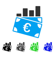 Euro sales chart flat icon vector