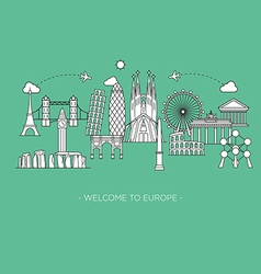 Europe monument Line art style vector image vector image