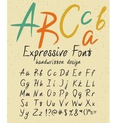 Expressive handwritten font design vector image