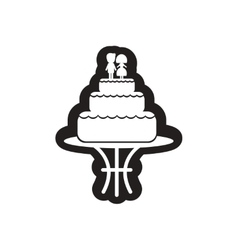 Flat icon in black and white wedding cake vector