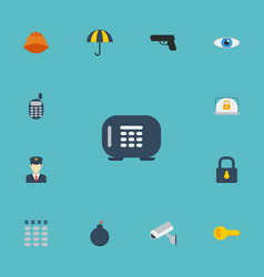 Flat icons hardhat clue parasol and other vector